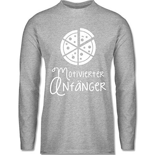 Shirtracer Küche Motiverter Anfänger Pizza Herren Langarmshirt Grau Meliert
