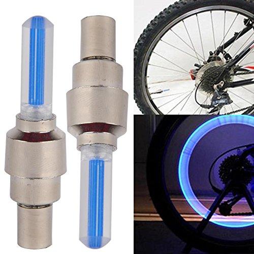 Rad Ventilkappen Licht (2 Stück Fahrrad Rad Reifen Ventilkappe Speichen Neon Licht Lampe (Blau))