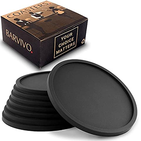 Drink Coasters by Barvivo Set of 8 - Tabletop Protection For Any Table Type, Wood, Granite, Glass, Soapstone, Sandstone, Marble, Stone Tables - Perfect Soft Coaster Fits Any Size of Drinking