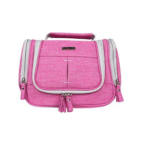BUBM Große Kulturtasche | Waschtasche | Wasserabweisender Kulturbeutel, Kosmetiktasche, Reisetasche, für Damen, Herren | Rosa Haken zum Aufhängen | Netz- und Reißverschluss-Fach