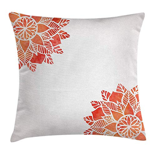 Floral Throw Pillow Cushion Cover, Watercolors Lace Flower Petals in Soft Pastel Tones Eastern Effect Design, Decorative Square Accent Pillow Case, 18 X18 Inches, Dark Coral White Navy Clara Slip