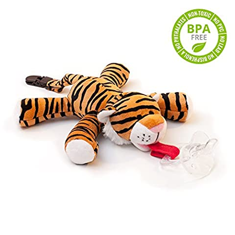 BabyHuggle Tiger Pacifier - Stuffed Animal Binky, Soft Plush Toy with Detachable Silicone Baby Dummy, Paci Clip Leash & Squeaky Sound. Teether Holder. Safe & Soothing Baby Shower Gift for Boys & Girls