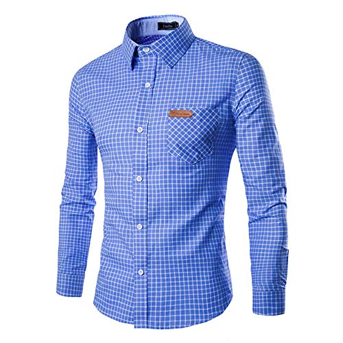 ALIKEEY Casual Hombres Otoño Plaid Print Long Sleeve Button Slim T - Shirt Top Blouse Blanca Beisbol Divertidas Camuflaje Camisa