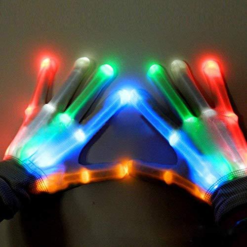 Finger Leuchthandschuhe LED Bunte Blinkt Handschuhe Halloween Spielzeug für Disko Licht Show Tanzen Rave Geburtstag Clubbing,Bunt