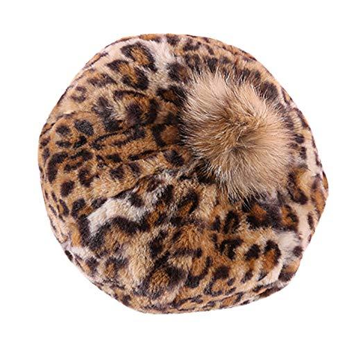 Mymyguoe Frauen warm Beanie Mädchen Winter Warm Leopard Print Hairball Berets Kürbis Hut Mütze Mode Cap Mütze mit Flecht Muster und Sehr Weichem Innenfutter Wintermütze Wollmütze Strickmuster Hut (Leopard Print Beanie)