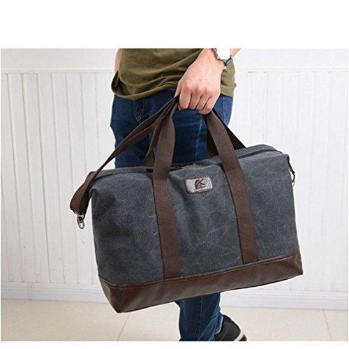 Herren Canvas Wochenende Tasche Reisetasche Satchel (Schwarz) Schwarz