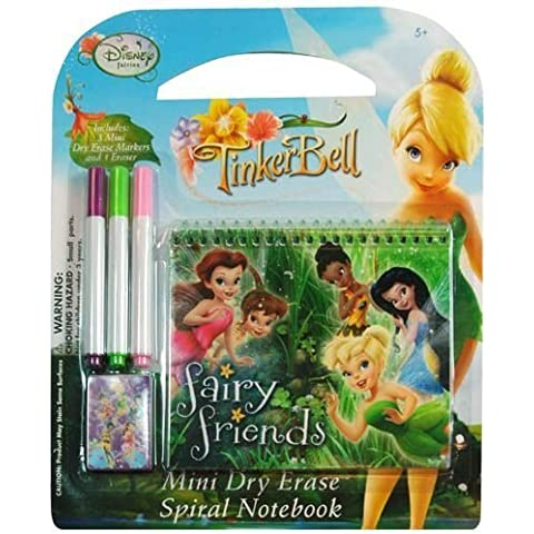 Disney Fairies Tinkerbell 5 Piece Personalized Study Kit/stationery Set, School Supplies with 1 Dry Erase Note Pad, 3 Wipe-off Markers, 1 Wipe Off Cloth by Disney Junior