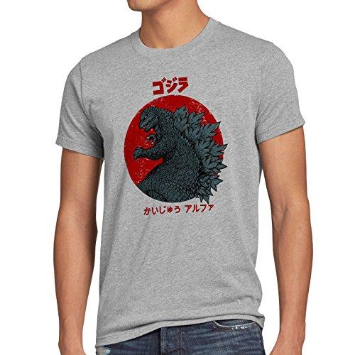 style3 Gojira T-shirt da uomo godzilla giappone nippon kaiju kanji tokio, Dimensione:M;Colore:grigio melange