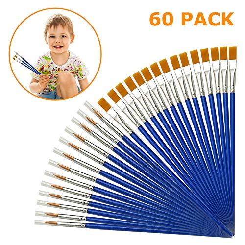 60 Stück Premium Künstlerpinsel Set Nylon Pinsel Aquarell für Anfänger, Kinder, Künstler Acryl Ölgemälde Painting