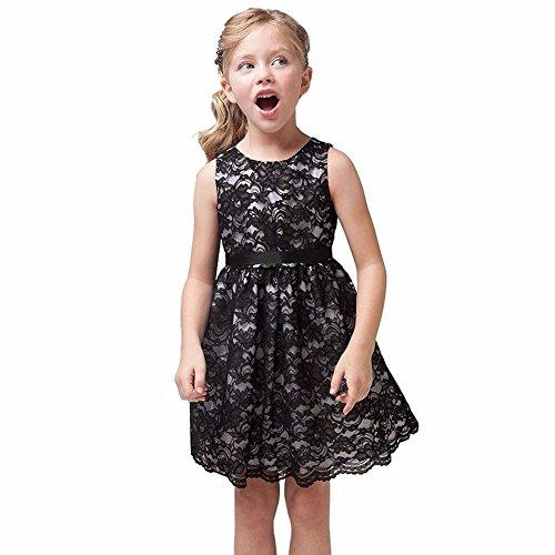 iiniim Mädchen Prinzessin Kleid Kostüm Hochzeit Ballkleid Festkleid Partykleider Schwarz 98/3 Jahre