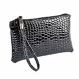 Amlaiworld Frauen Crocodile PU Leder Clutch Handtasche Tasche Geldbörse (Schwarz)