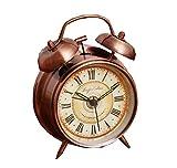 Wecker Batterieleistung Nachtlicht lauter Alarm römische Zeichen Kupfer Uhr, 4