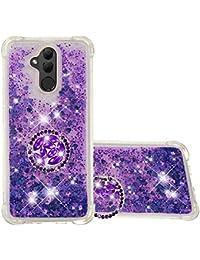 Funda Huawei Mate 20 Lite TPU Silicona Purpurina Carcasa,Funda para teléfono móvil de Arena movediza líquida en con Base de Anillo de Diamantes (Púrpura)