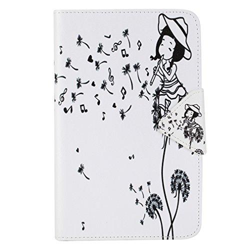 SZHTSWU® Schutzhülle für Samsung Galaxy Tab 3 7.0 Lite, Slim PU Leder Tasche Hülle Wallet Ledertasche mit Kartenfächern und Ständerfunktion, Löwenzahn Mädchen
