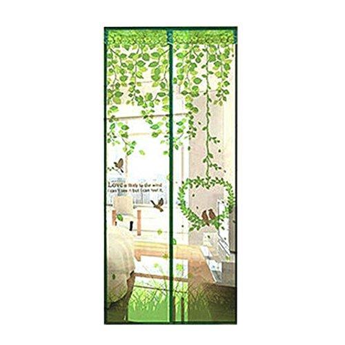 Hinmay pmaf f001- zanzariera completa per porta, chiusura magnetica automatica, per tenere lontano zanzare e insetti facendo comunque entrare aria fresca, green, taglia libera