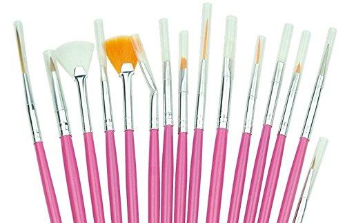 Set Lot 15pcs Brosse Pinceaux a Ongles Manucure pour Nail Art Set Complet de Peinture Rose