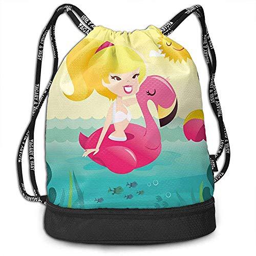 Crayfish Karikatur-Retro- glückliches Bikini-Mädchen auf Flamingo-Pool-Multifunktionsstrahln-Kordelzug-Rucksack mit Schuhfach für Reise im Freien