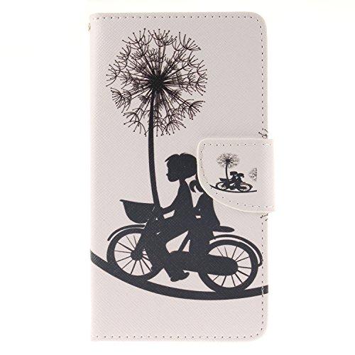 Anlike für LG G4 (5,5 Zoll) Hülle / Handyhülle / Schutzhülle / Ledertasche / Tasche / Case / Cover / Flip Brieftasche / Bookstyle mit Standfunktion Kredit Karteneinschub und Magnetverschluß - Liebhaber Fahrrad