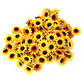 Tinksky 100pcs realistas artificiales de plástico girasol cabezas Home Party decoración tubos () amarillo