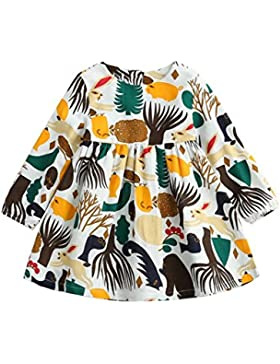 Amlaiworld Baby Mädchen warm langarmshirt Gemütlich kleider Bunt Niedlich Tier drucken Freizeit kleidung,1-6 Jahren
