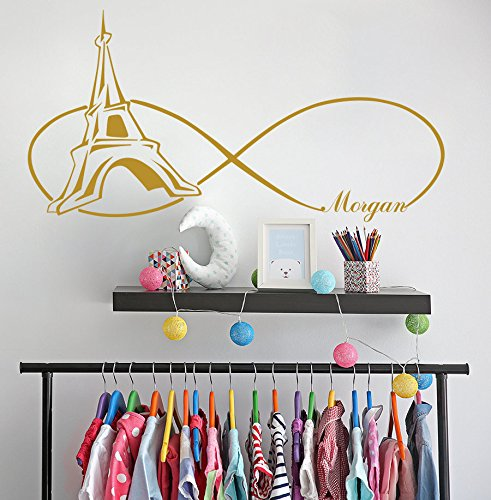or Girls Wall Decals Paris Themed Bedroom Wall Sticker Personalized Sticker Girls Name Wall Decor Tower Decal111x57cm ()