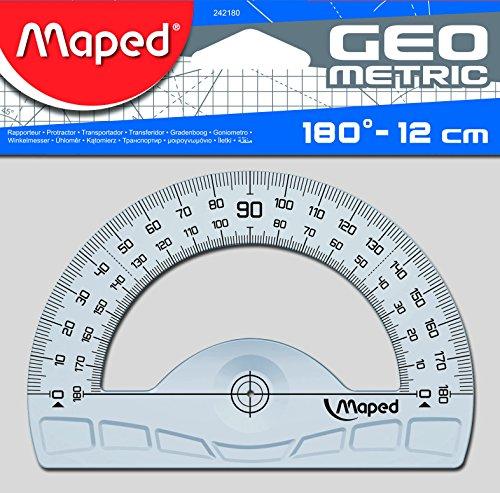 Maped 242180 Halbkreis-Winkelmesser Geometric 180 Grad, 120 mm, Blau, Durchscheinend
