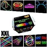 Pack fiesta XXL Glow pulseras, collares, coronas, gorras, gafas, pulseras triples, orejas conejo, flores, bola luminosa - 482 elementos