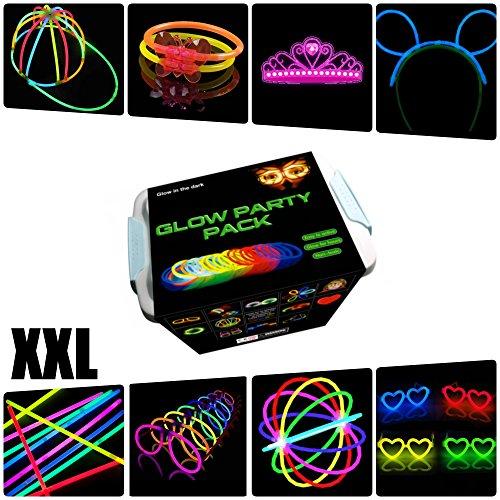 Partyset XXL Glow Armbänder, Halsketten, Kronen, Mützen, Brillen, Dreifach-Armbänder, Kaninchenohren, Blumen, Leuchtkugel - 482 Elemente