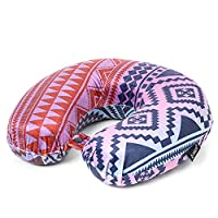 Aerolite Travel Pillow Comfortable Neck Support Soft Luxury Memory Foam Cushion (Aztec Multi Print)