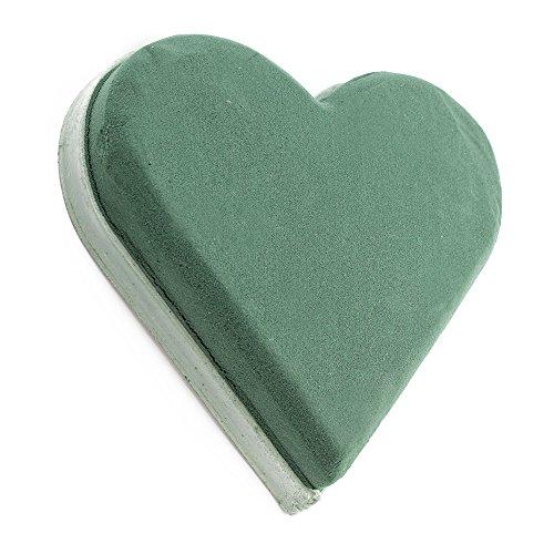COM-FOUR® Steckmasse in Herzform, Steckschaum für Frischblumen, 20 x 19,5 x 5 cm (01 Stück - Herz)