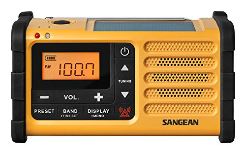 gelb//schwarz Sangean MMR-88 tragbares Kurbelradio UKW//MW-Tuner, Notfall-Signalton, integrierter Li-Ion-Akku
