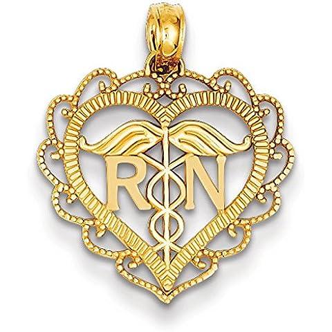14 k con pendente a forma di cuore, Registered Nurse JewelryWeb