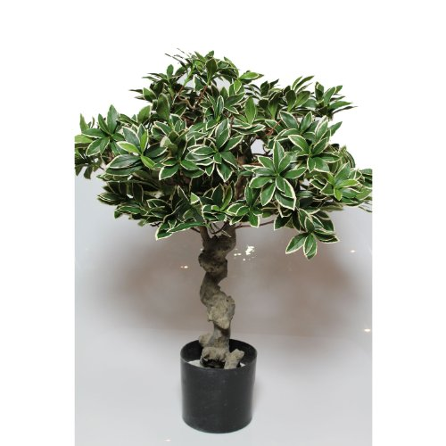 artplants – Künstlicher Bonsai Spindelstrauch/Euonymus, 1200 Blätter, 80 cm – Kleiner Deko Baum/Unechter Bonsaibaum