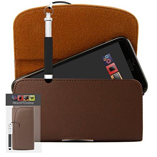 IWIO Braun PU Seitentasche aus Leder Abdeckung Holster mit Gürtelschlaufe Clip und Magnetverschluss Enthält Schwarz Wiederziehbar Tip Stylus Stift für LG Optimus LU6200 LTE