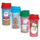 Stocking Stuffers - Kids? Christmas Travel Mugs, 11 oz. (Set of 4)
