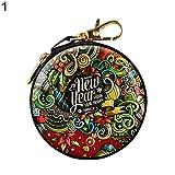 Sanwood de Noël rond support casque Cadeau de Noël Mini Wallet Card support pour clés avec fermeture Éclair Porte-monnaie d'embrayage Sacs