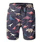 guolinadeou Catoon Dinosaur Pattern Men Casual Drawstring Beach Boardshorts Pants Pocket Medium