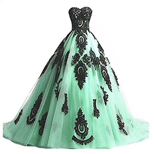 Cloverbridal Damen Ballkleider Prinzessin Lang Prom Kleider Quinceanera Kleid Ball Gown Mint Grün 42 -