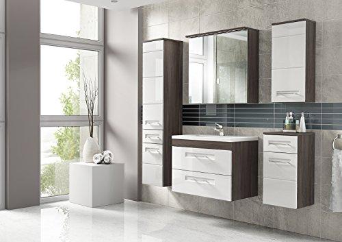 Cosmo 2 Badmöbel-Set/Komplettbad 6-teilig in Weiß Hochglanz/Avola Dekor, Waschtisch 60 cm,