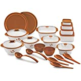 BMS Lifestyle Combo Of Food Serving Casserole, Container And Bowl, 20 Pieces, Brown