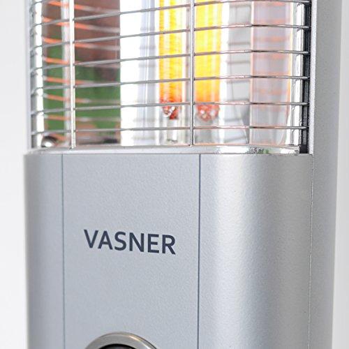VASNER StandLine Mini 12 Infrarot Stand-Heizstrahler 1200 Watt, silber grau, 2 Stufen, Thermostat, Infrarotstrahler für Terrasse, elektrisch - 3