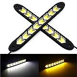 #3: DELHITRADERSS White & Yellow Car COB Flexible LED Daytime Lights DRL with Turn Signal 20W 2Pcs