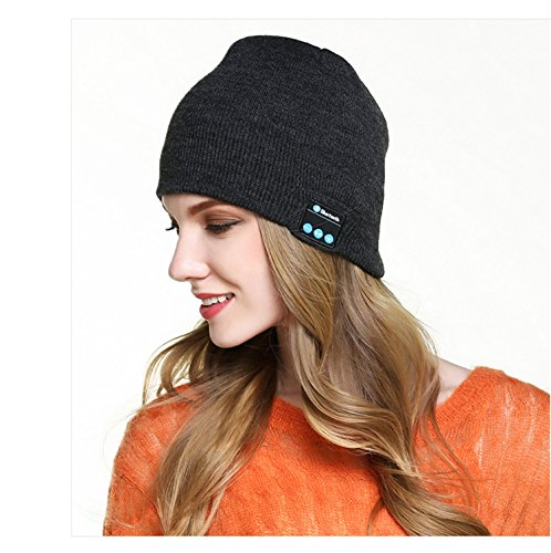 Hmilydyk Bluetooth Bonnet en tricot Chapeau Hi-Tech Smart Wireless Headset Cap musicale avec amovible haut-parleurs stéréo et micro pour sports de plein air, Meilleur Winter Cadeau pour homme femme garçons filles, gris foncé