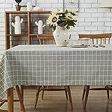 GWELL Leinen Tischdecke Eckig Abwaschbar Tischtuch Pflegeleicht Schmutzabweisend 10 Größe wählbar graue Karos 100 * 140cm - 4