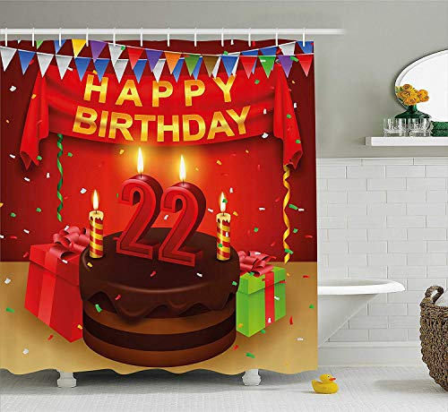 GONIESA 22nd Birthday Decorations Shower Curtain, Cute Cupcake with Candles Romantic Celebration Illustration, Fabric Bathroom Decor Set with Hooks, 60 * 72inch, Red Scarlet Blue