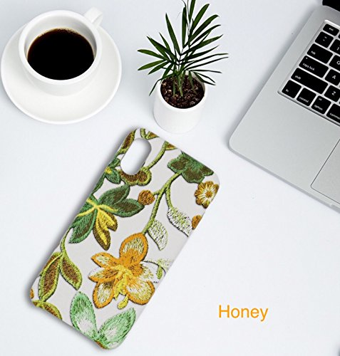 [caserbay] iPhone X Fall iPhone 10(14,7cm) 2017Hülle 3D Stickerei geprägt Flower Muster Premium Faux Leder Slim Moderate Soft Cover, Honey for iPhone X 5.8