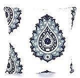 Miiyu6Bird Housses de Coussin Bleu Marine Blanc Vintage Indigo Bleu Clair Blanc Coton...