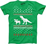 Crazy Dog Tshirts - Youth T-Rex Attack Ugly Sweater T Shirt Funny Christmas Dino Tee for Kids (Kelly Green) M - Maglietta Giovanile Divertente