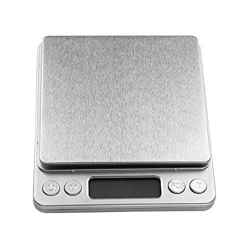 Digitale Küchenwaagen Digitalwaage, Uten Elektronische Waage bis 3kg Hohe Präzision auf bis zu 0,1g, Electronische Waage Multifunktions Taschenwaage mit LCD Display, Inkl. Batterie (3kg Waage)