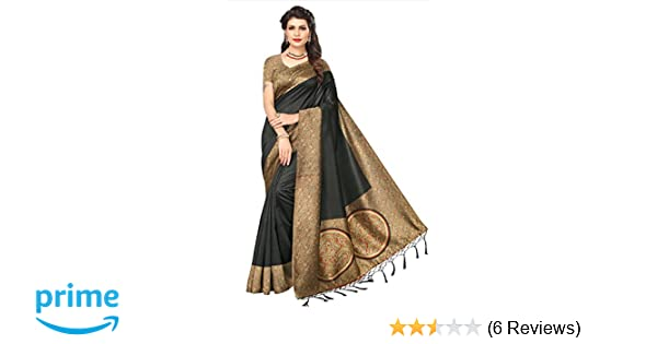 c2f6496443e0 Mrinalika Fashion Art Silk Saree With Blouse Piece(sarees for women below  500 SRJA040 Black Free Size)